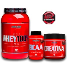 Kit Super Whey 100% Pure 907g + BCAA Top 120caps + Creatina 150g – Integralmédica