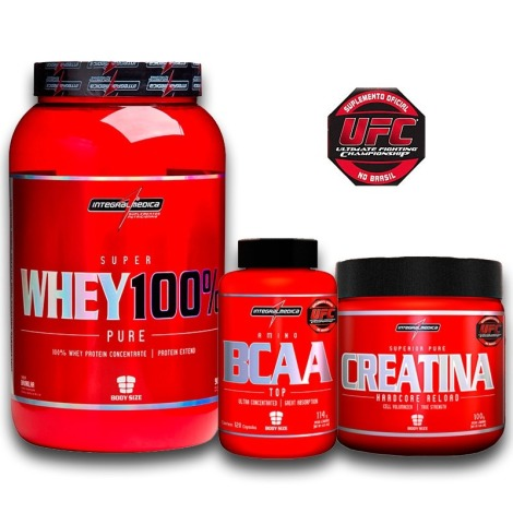 045af18ca Kit Super Whey 100% Pure 907g + BCAA Top 120caps + Creatina 150g –  Integralmédica