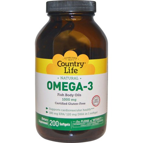 Omega - 3 1000mg - 200 Softgels - Country Life